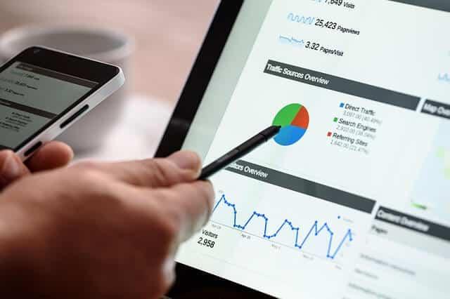 פרסום וקידום עסקים במחשב נייד המראה על במסךסטטיסטיקה וחלוקת עיגול לפי צבעים