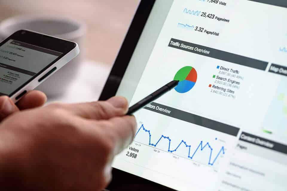 עוגת סטטיסטיקה במחשב עם חברה לשיווק אתרים באינטרנט