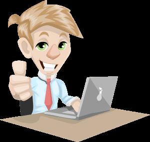 דמות מצוירת מול מחשב מבליטה את קידום אתרים יתרונות וסגנונות
